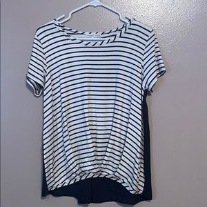 white and navy striped shirt